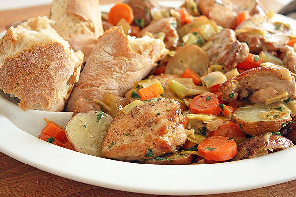 White Wine-Braised Chicken and Potatoes