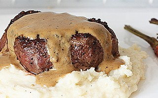 Steak au Poivre (steak in a cognac cream sauce) & Roasted Garlic and Parmesan Mashed Potatoes