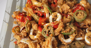fried calamari with hot peppers