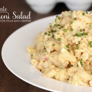 The ultimate macaroni salad, Amish style with eggs and cheese.