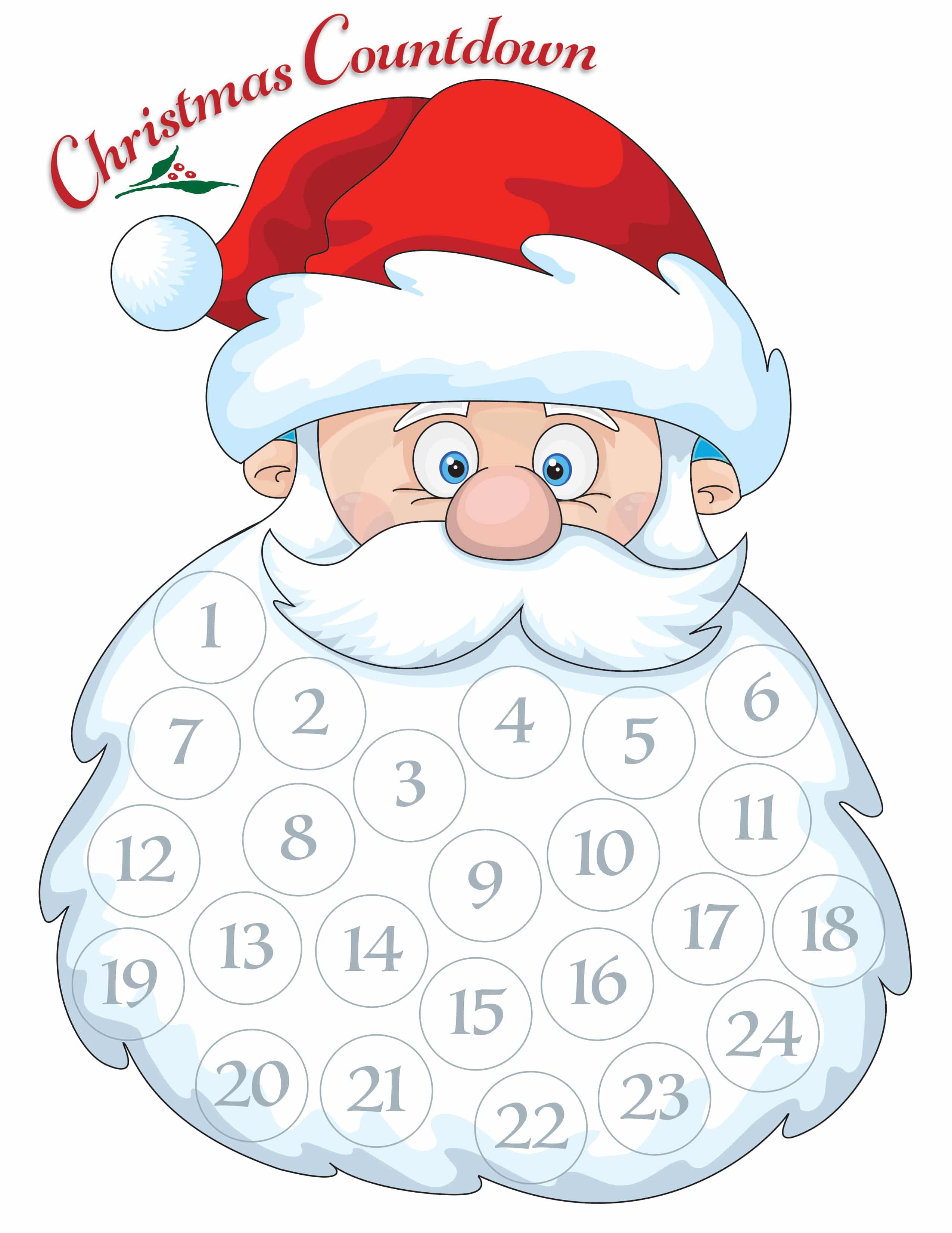 Santa Advent Calendar – Free Printable