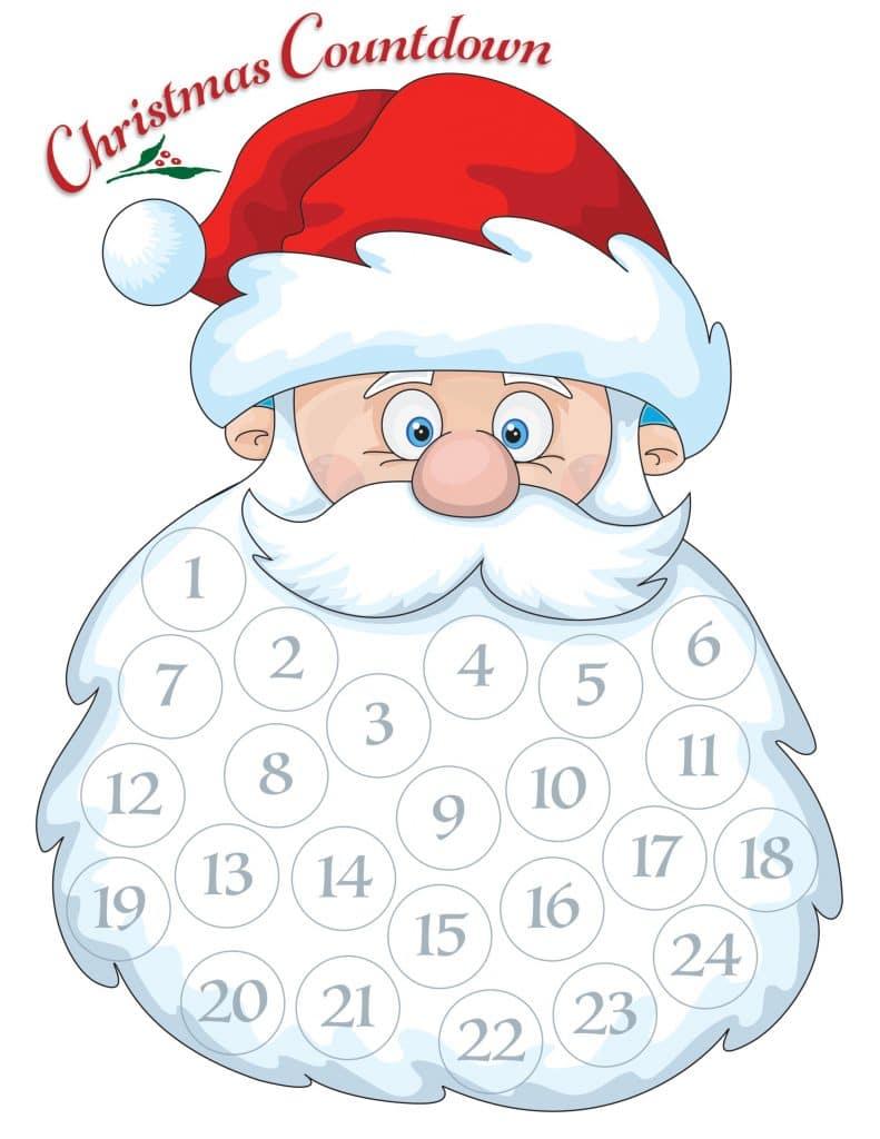 Santa Beard Countdown Calendar - Free holiday fun for the kids ...